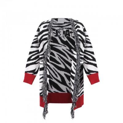 Long Knitted Cardigan, Zebra