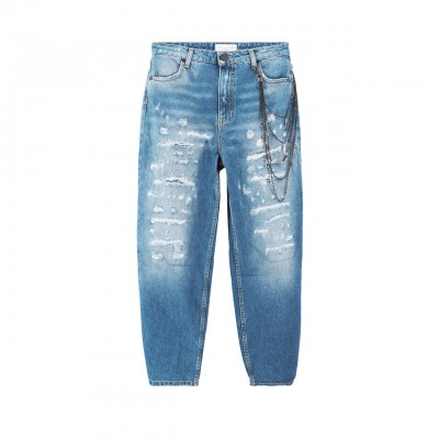 Jeans Slouchy Con Rotture E...