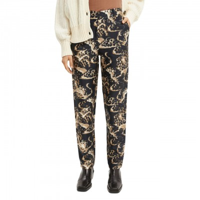 Tapered Pants With Print, Gray