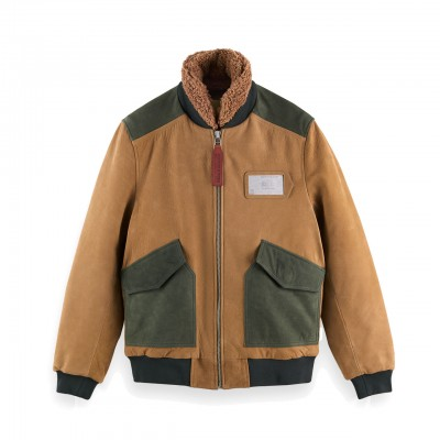 Giacca Bomber In Camoscio A...