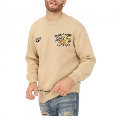 Printed Sweater, Marrone