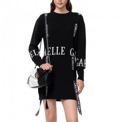 Knitted Crewneck Dress, Black