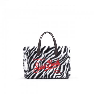 Sherpa Zebra Fabric Bag, Black