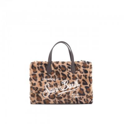 Leopard Sherpa Fabric Bag,...