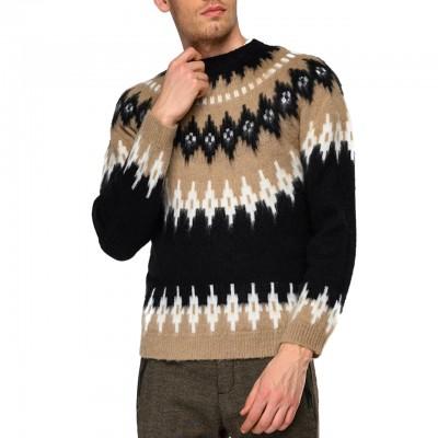 Jacquard crewneck pullover,...