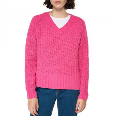 Maglione Crop Scollo A V, Rosa