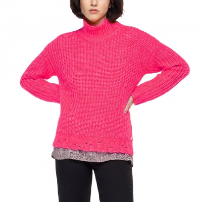 Sweater With High Neck, Pink